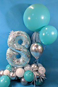 Blue balloon numbers - Kids Parties Perth balloon decor